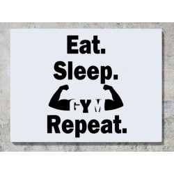 Eat Sleep Gym Repeat Body Builder Exercise Wall Art Decal Sticker Picture