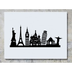 Famous Landmarks Statue Of Liberty Eiffel Tower Big Ben Leaning Tower Of Pisa Wall Art Decal Sticker Picture