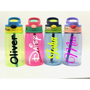Personalised Custom Bespoke Childrens Water Bottle with Flip Straw - Approx 500ml