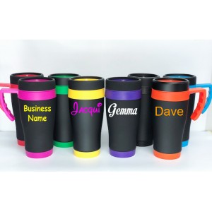 Personalised Custom Bespoke Black Stainless Steel Travel Mug - Colour Lid and Base  - Approx 450ml