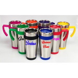 Personalised Custom Bespoke Stainless Steel Travel Mug - Colour Lid and Base  - Approx 450ml