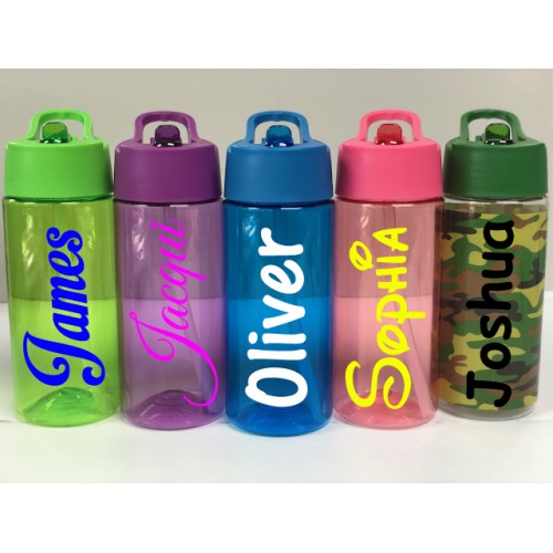 Personalised Custom Bespoke Childrens Water Bottle with Flip Straw - Approx 400ml