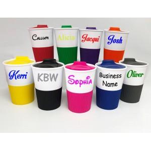 Personalised Custom Bespoke Travel Mug - Plastic Silicone Base - Approx 350ml